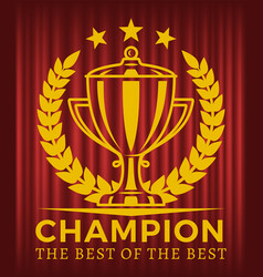 champion the best best golden cup vector image