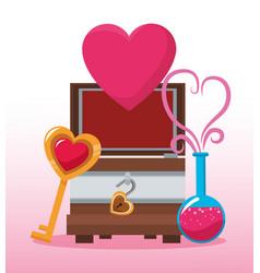 Chest with heart cartoon vector