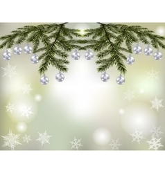 Christmas new year s card shiny silver balls on vector