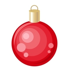 Christmas Tree Red Toy Flat Style Design vector