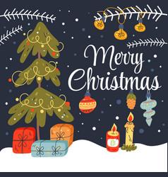 christmas tree with gift box card vector image