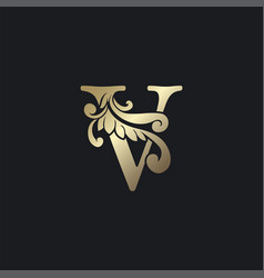 Classy gold letter v luxury decorative initial vector