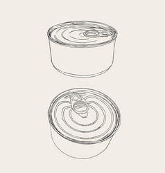 Closed food tin cans sketch vector