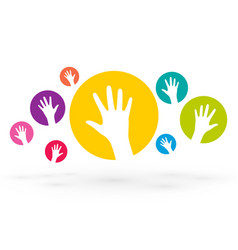 colorful icons of human hands vector image