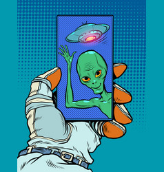 Contact with an alien mind friendly alien green vector