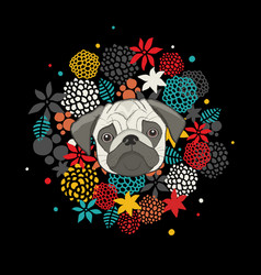 cool animal print with pug isolated on black vector image