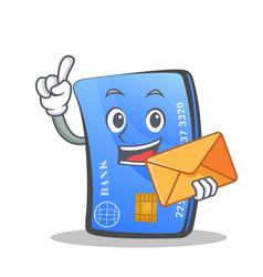 Credit card character cartoon envelope vector