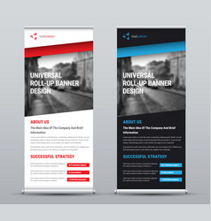 Design a roll-up banner with diagonal colored vector