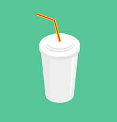 drink with straw isolated beverage fastfood on vector image