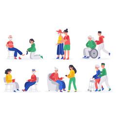 elderly people caring volunteers social workers vector image