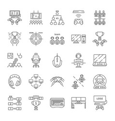 esports linear icons set vector image