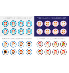 Face cleaning and care actions big set vector