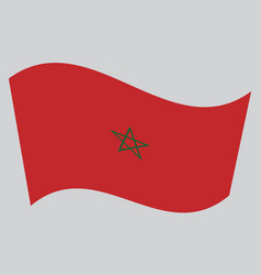 Flag of morocco waving on gray background vector