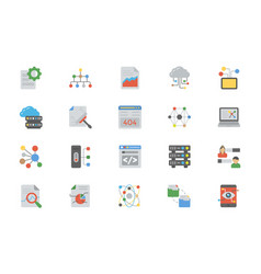 Flat design icons of data management vector
