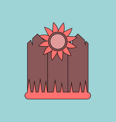 Flat icon design collection fence and sunflowers vector