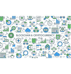 flat line design cryptocurrency banner vector image
