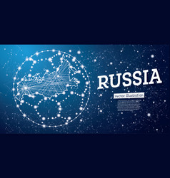 football ball with map of russia on a blue vector image