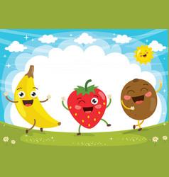 Fruit characters vector