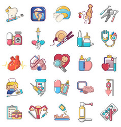 General medical icons set cartoon style vector
