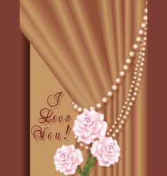 Greeting card invitation background with roses vector