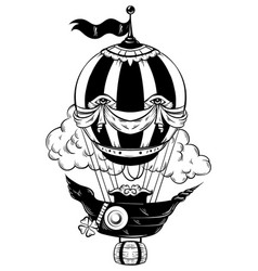 Hand drawn air balloon with clouds tattoo vector