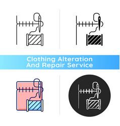 Hemming and seam repair black linear icon vector