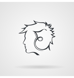 icon with the image of the male profile vector image