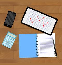 Infochart report on tablet vector