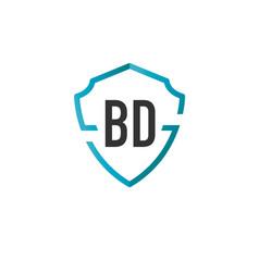 Initials letter bd creative shield design logo vector