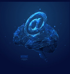 internet on brain low poly background vector image