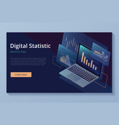 Laptop monitor with infographic elements vector