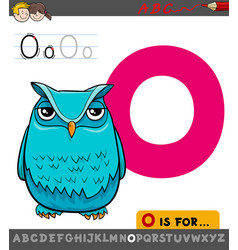 Letter o worksheet with cartoon owl vector
