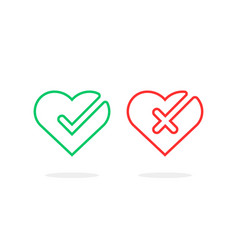 linear check marks on hearts vector image