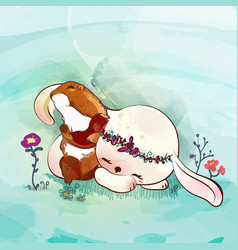 Little bunny with friend in watercolor doodle vector