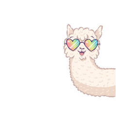 llama with rainbow glasses vector image