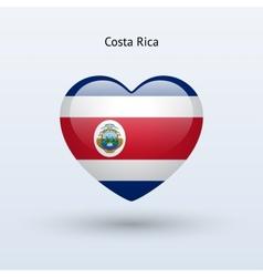 Love Costa Rica symbol Heart flag icon vector