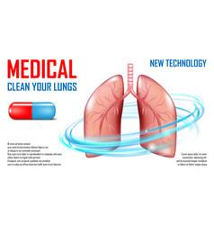 Lungs diagnosis banner medical care concept vector