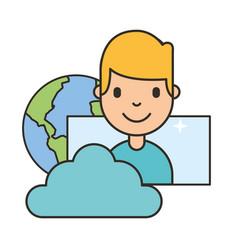 man cartoon world cloud storage social media vector image