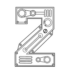 Mechanical number 2 engraving vector