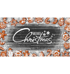 merry christmas text and gingerbread cookies vector image