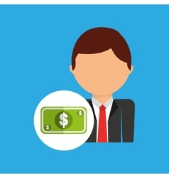 Money business man suit worker icon vector