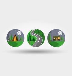 Nature vacation camping set icons logos vector
