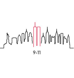 New york linear silhouette design template vector