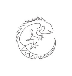 one continuous line drawing beautiful iguana vector image