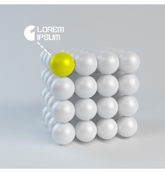 One cube formed by many spheres 3d vector
