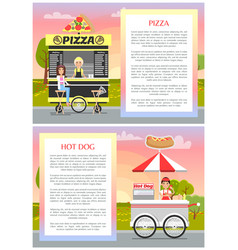 pizza and hot dog stands with wheels tasty food vector image
