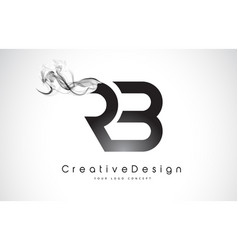 Rb letter logo design with black smoke vector