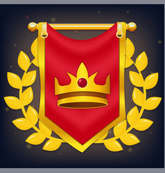 red knight flag with crown and laurel vector image