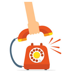 Retro style red telephone ringing pick up the vector