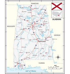 road map us state alabama with flag vector image